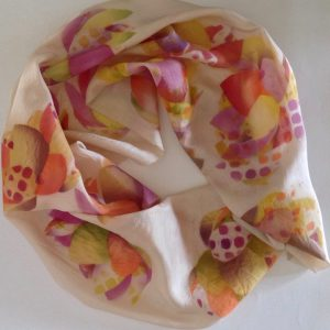 "Unique airbrushed silk scarf ""Dotty"""