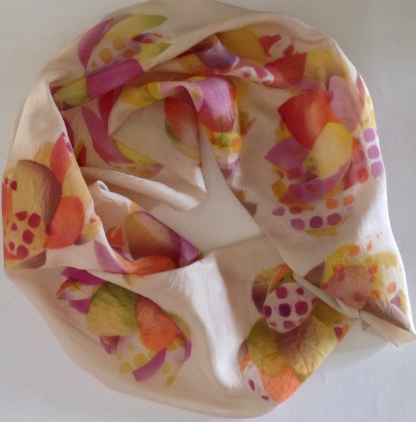 """Unique airbrushed silk scarf """"Dotty"""""""