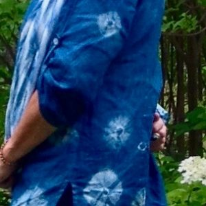Linen blouse dyed using kumo shibori technique