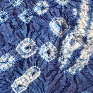 Indigo shibori sample using nui and kumo shibori stitching