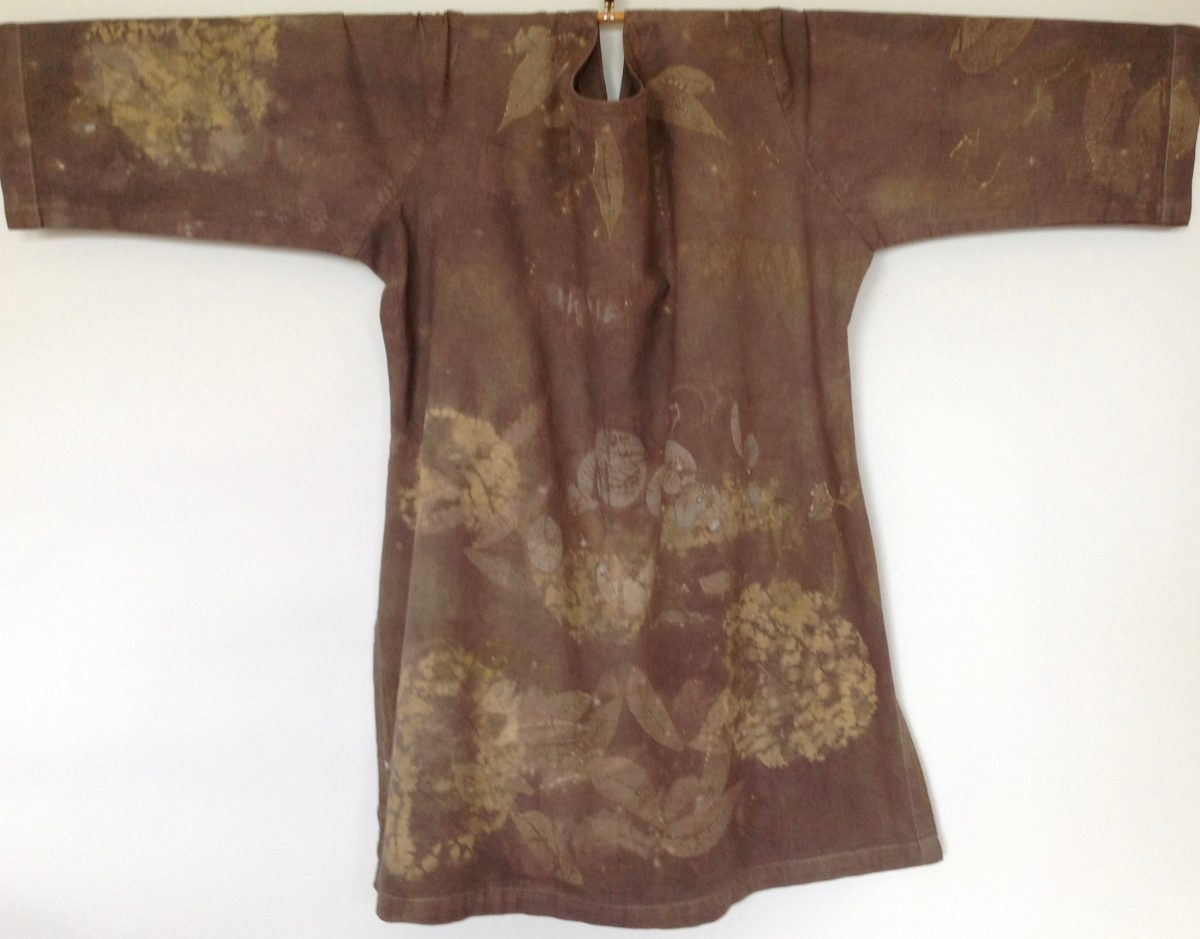 Myrobalan, Queen Anne's Lace Logwood naturally dyed cotton tunic with Kumo Shibori resist stitching and eco printing