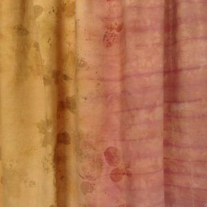Sappanwood, Chilca natural dyes and eco printing plus shibori resist technique on a length of cotton fabric