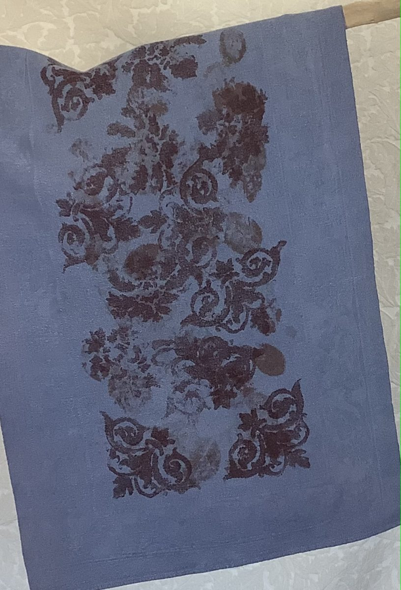 Linen table runner dyed with Indigo and Madder dyes, stencil and eco printed